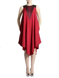 Red Laser Cut Dress 1