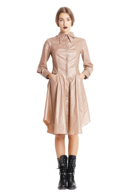 Double collars beige shirt dress designed by Larisa Dragna