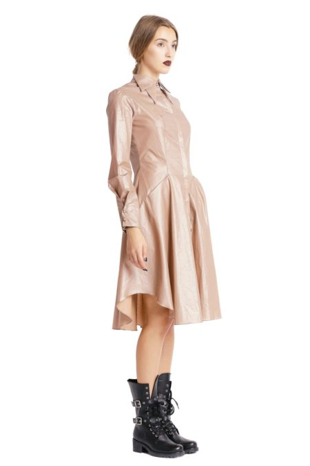 Double collars beige shirt dress side