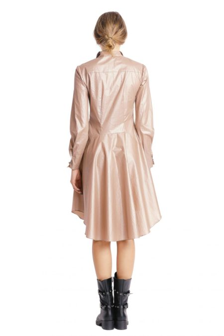 Double collars beige shirt dress back