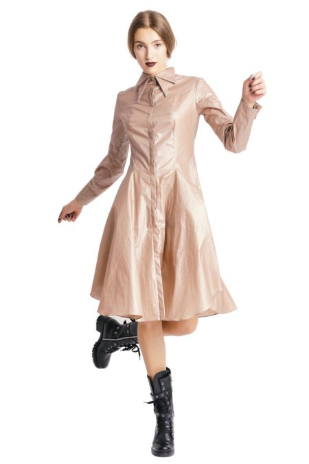 Double collars beige shirt dress (5)