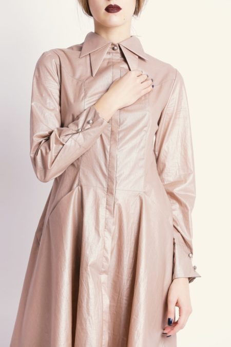 Double collars beige shirt dress close up