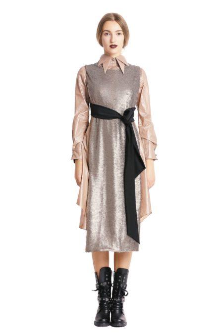 Gold sequined vest designed by Larisa Dragna
