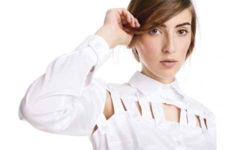 Model wearing removable white shirt by Larisa Dragna