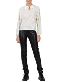 White shirt with sequins sleeves designed by Larisa Dragna