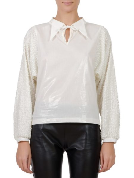 White shirt with sequins sleeves (2)